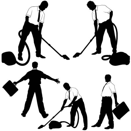 Business Cleaning Silhouettes Vector