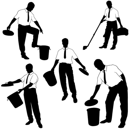 Business Silhouettes - Move to trash Vector