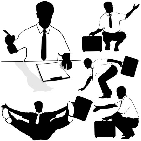 Businessman with briefcase Silhouettes Stock Vector - 2738274