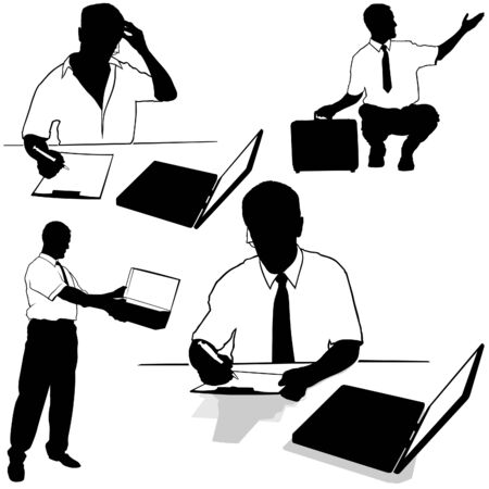 Working businessman Silhouettes Stock Vector - 2738272