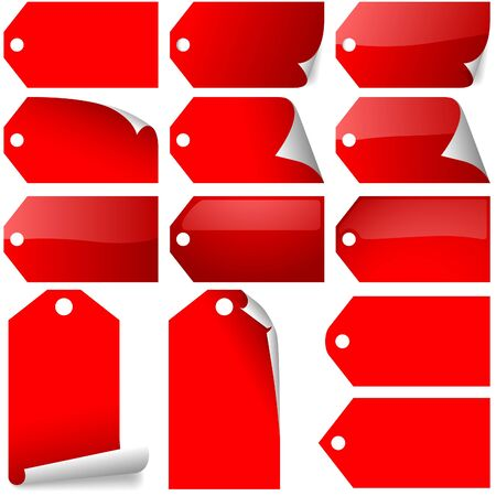 Red Tags Collection - red label variations as vectors