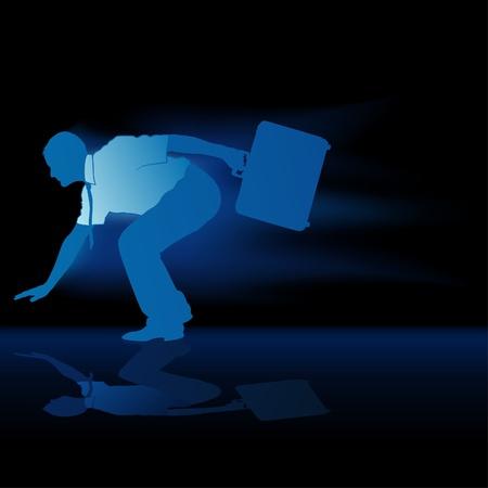 faster: Faster Businessman Silhouette Illustration
