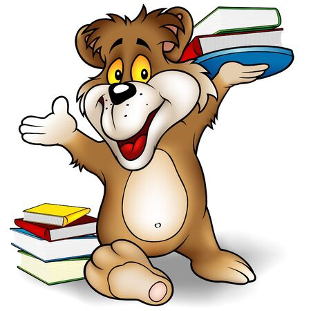 librarian: Sweet Bear and Books - Teddy-bear illustration as vector. Illustration