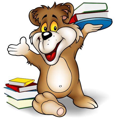 teddy bear vector: Sweet Bear and Books - Teddy-bear illustration as vector. Illustration