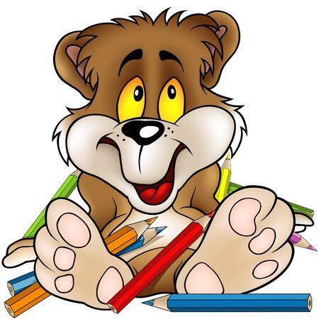 crayon drawing: Sweet Bear and Crayons - detailed illustration as vector