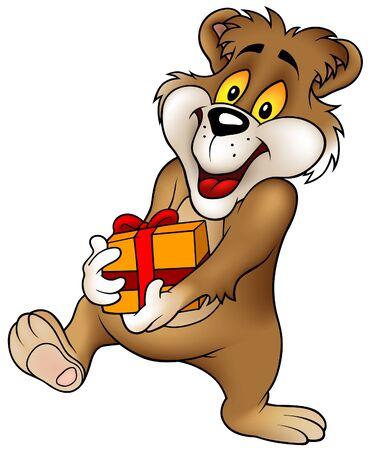 teddy bear vector: Sweet Bear and Gift - cartoon illustration as vector