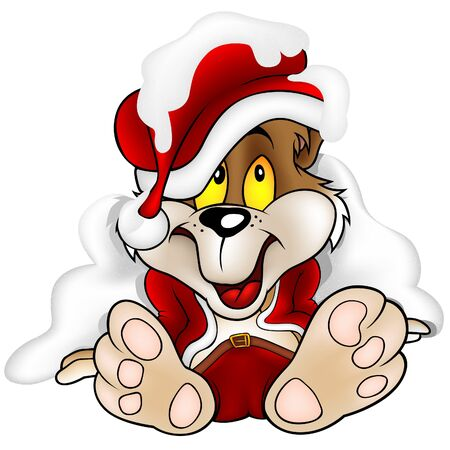 teddy bear christmas: Sweet Bear as Santa Claus - illustration as vector
