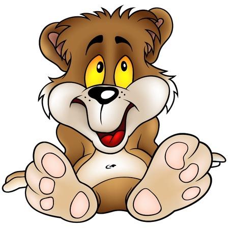 cartoons: Sweet Bear sitting - detaillierte Cartoon-Illustration als Vektor