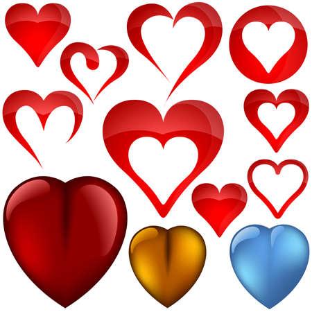 Heart icons II - set - various shapes as vectors Vector