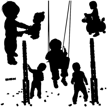 Childrens Silhouettes 01 - happy and funny Vector