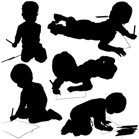 kid vector: Childrens Silhouettes 03 - poco pintor