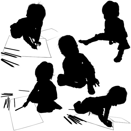Childrens Silhouettes 04 - little painter Stock Vector - 2824736