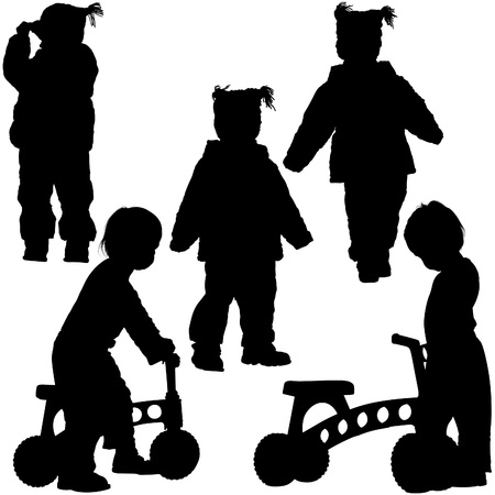 Childrens Silhouettes 06 - walking Vector