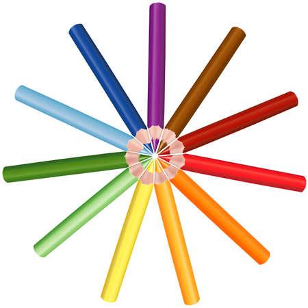 Crayons Circle - colored crayon as vector illustration Vector