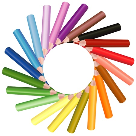 Crayons Sun - colored crayons set as vector illustration Vector