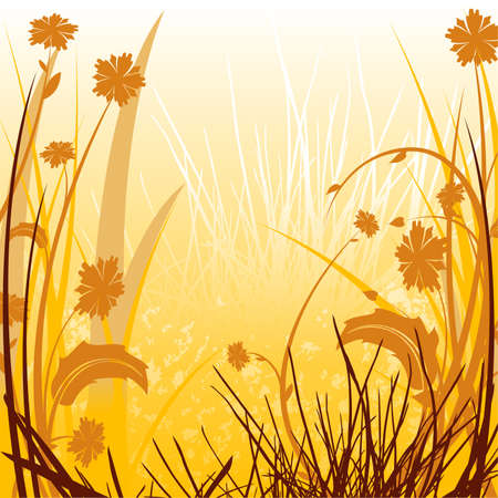 Floral Sunlit Countryside - illustration as vector Stock Vector - 2926025