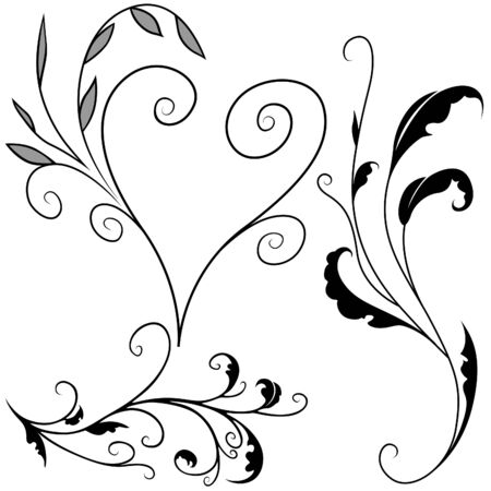 Floral elements G - popular floral segments as vector Stock Vector - 3121172