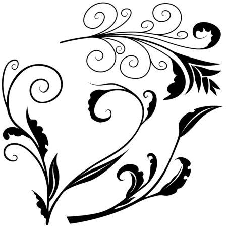 Floral elements H - popular floral segments as vector Stock Vector - 3121166