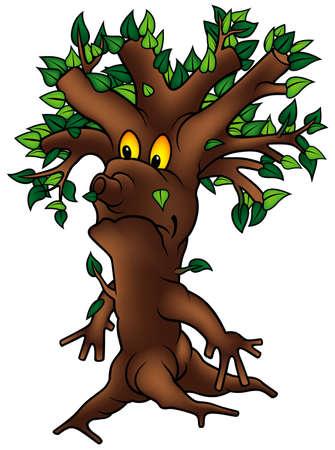 02: Green Tree 02 - detailed cartoon illustration as vector