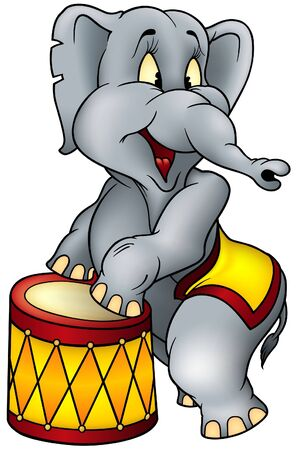 animal cartoons: Elephant circus performer - colored illustration as vector