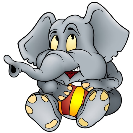 Elephant and ball - detailed illustration as vector