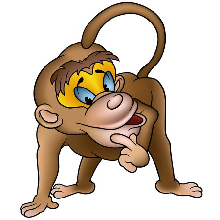 primate: Clever Monkey - detailed colored illustration as vector