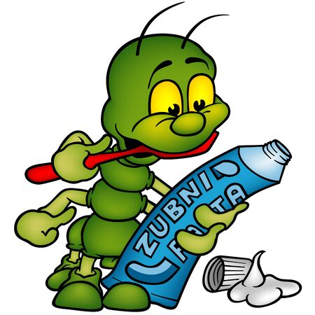 Centipede and tooth paste - brushing of the teeth - vector