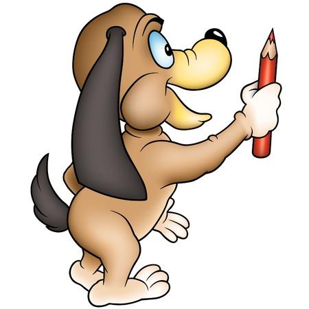 Dog and crayon 03 - colored cartoon illustration as vector Vector