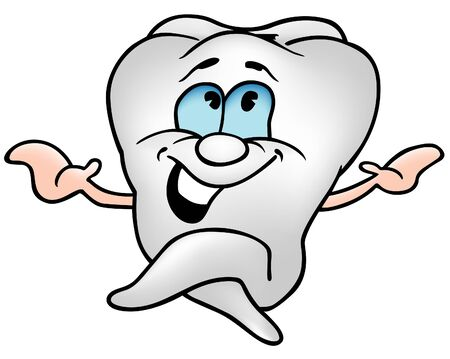 health cartoons: Little Tooth 1 - colored cartoon illustration as vector