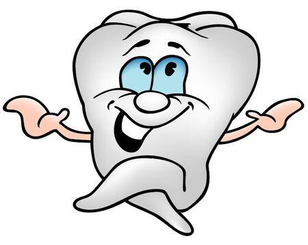 dientes caricatura: Poco Tooth 1 - color de dibujos animados como ilustraci�n vectorial  Vectores