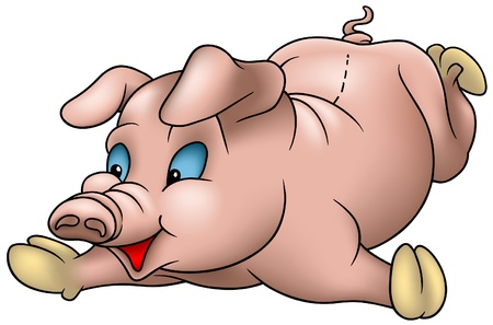 hoofed: Little Pig - cartoon illustration laying piggy as detailed vector
