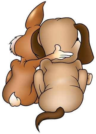 Dog and Rabbit - colored cartoon illustration as vector Stock Vector - 3280087