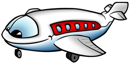 cruise cartoon: Aeroplane A - smiling cartoon illustration as vector