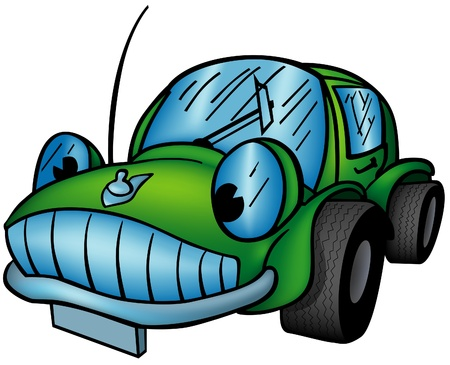 Green Car - colored cartoon illustration as vector