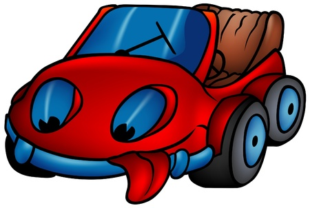 Red Car - colored cartoon illustration as vector