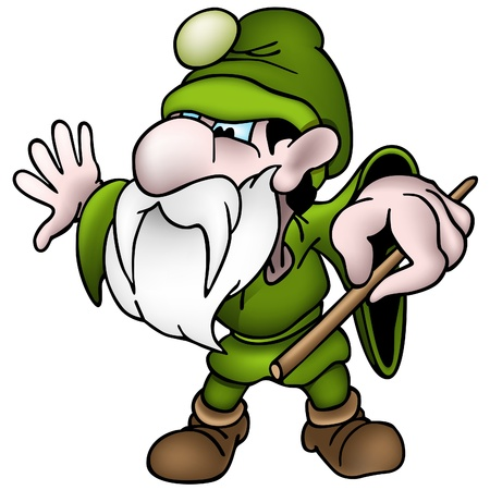 Green Dwarf - colored cartoon illustration as vector Vector