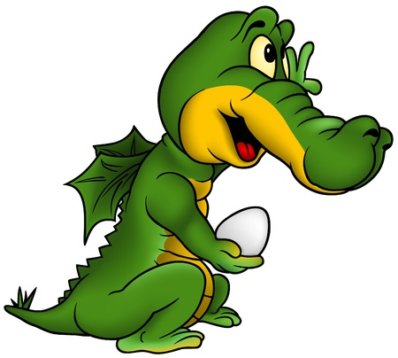 dragon cartoon: Little Dragon - smiling cartoon illustration as vector