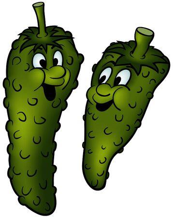 Gherkin - green vegetables, cartoon illustration as vector Ilustracja