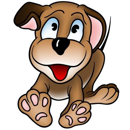 puppy cartoon: Happy Puppy Dog - colored cartoon illustration as vector