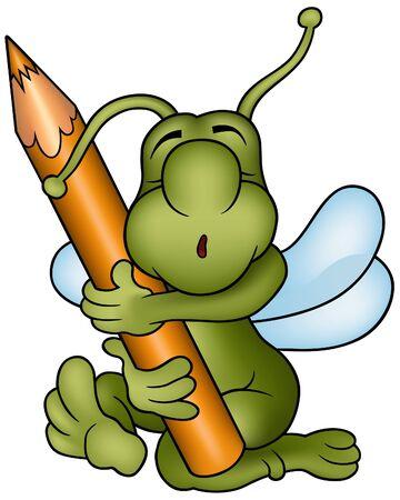 pencil cartoon: Bug y L�piz - ilustraci�n de dibujos animados como vector  Vectores