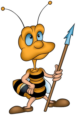 Little Bee and Spear - colored  illustration as vector Vector