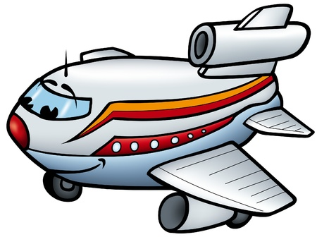 Aeroplane B - smiling cartoon illustration as vector