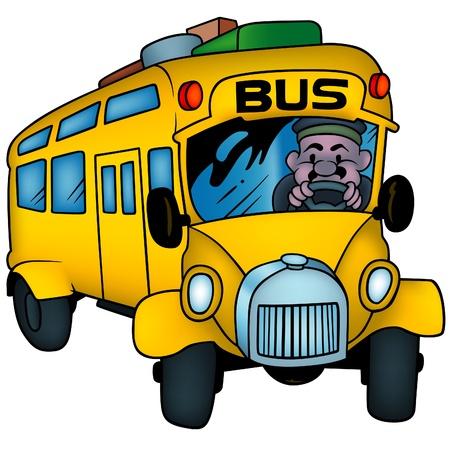 School Bus - colored cartoon illustration as vector Vector