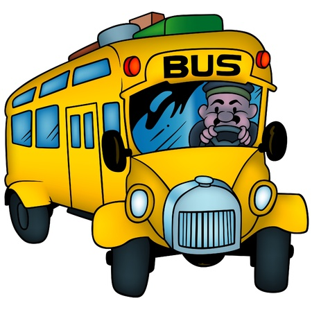 School Bus - colored cartoon illustration as vector