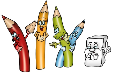 Happy Crayons - gekleurde cartoon illustratie als vector