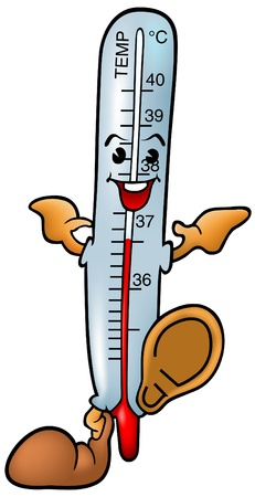 clinical thermometer: Thermometer - smiling cartoon illustration as vector Illustration