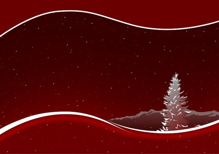 lanscape: Red Christmas Bckg 1 - christmas illustration as vector Illustration