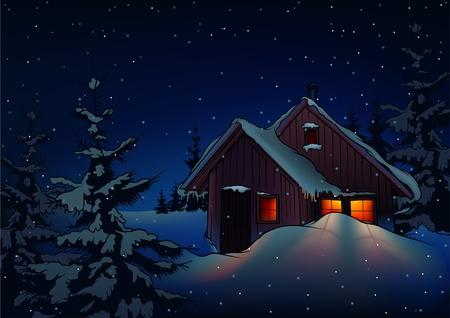 christmas cabin: Snowy Christmas 2 - background illustration as vector