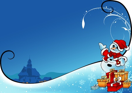 Snowy Christmas 7 - background illustration as vector Vector