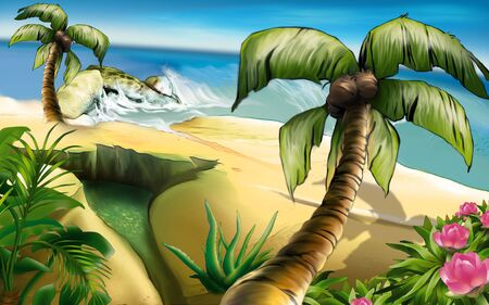 rivulet: Island of Dreams 2 - tropical background, hand drawn